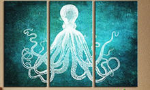 3 Panel Marine Animals Canvas Art Print Poster Octopus Wall Pictures for Home Decoration Print Wall Decor