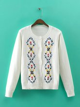 2016 autumn and winter new women's fashion wild hand-embroidered wool cardigan sweater