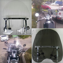 "Motorcycle Large Windshield Windscreen For 19""x17"" Honda Shadow Aero 750 Magna 700 VF700C With 7/8"" And 1"" Handlebars(China)"