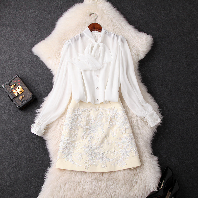 Women bow collar chiffon long lantern sleeve white tops and blouses + embroidery sexy mini skirt suit 2 piece set 2019 summer