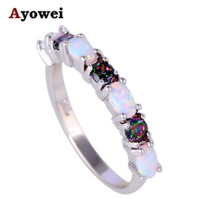 Delicate Rings Rainbow Zircon White Fire Opal Silver Stamped Wholesale Fashion Jewelry Ring USA Sz #6#7#8#9#10 OR752A(China)