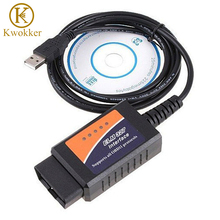 KWOKKER ELM327 USB ELM 327 V1.5 OBD 2 ELM327 USB Interface CAN-BUS Scanner Diagnostic Tool Cable Code Support OBD-II Protocols(China)