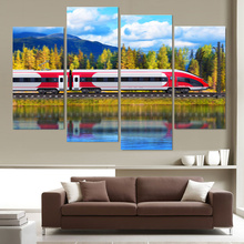 4 Piece Wall Oil Painting Train Landscape Home Decoration Art Picture Paint on Canvas Prints for Living Room