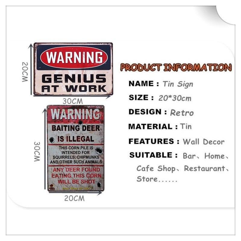 Metal Tin Sign warning genius at work Decor Bar Pub Home Poster Cafe ART