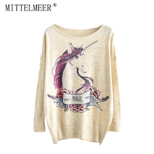 MITTELMEER 2018 bts Harajuku Sweater Woman girls student knitting Cartoon horse unicorn Flowers cat Animal printing Sweater(China)