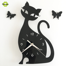 2017 Popular Aimecor Happy Home Cute Cat Butterfly Mirror Black Red Gold Wall Clock Modern Design Home Decor Watch Wall Sticker(China)