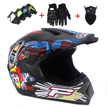 Top ABS Motobiker Helmet DH Motorcycle Racing Helmet Off-road Downhill mountain helmet Suitable for kid with Goggle(China)