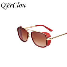 QPeClou 2017 Cool New Color Iron Man Sunglasses Women Fashion Square White Frame Sun Glasses Men Tony Oculos Shades Eyewear(China)