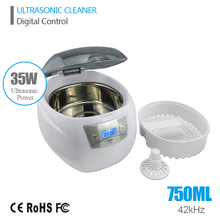 Ultrasonic Bath Cleaner 0.75L Tank Baskets Jewelry Watches Injector Ring Dental PCB 35W 42kHz Digital Mini Ultrasonic Cleaner