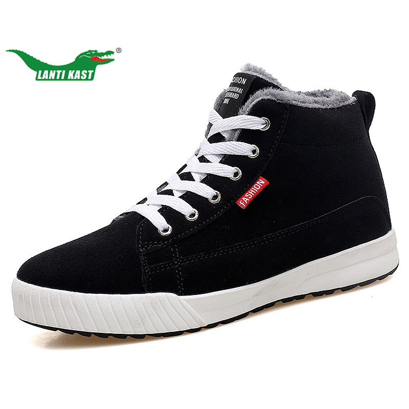 LANTI KAST Winter Men Sneakers Outdoor New Red/black Fur Inside High Top Sneakers for Men Popular Comfortable Lace Up Plush Shoe<br>