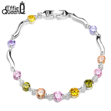 Effie Queen 2017 New Charm Bracelets for Women Paved Colorful Cubic Zircon Bracelet Hand Chain Female Jewelry DDB11(China)