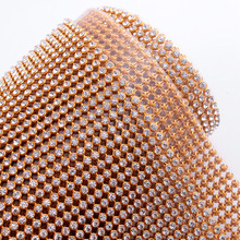 Golded aluminum mesh 45*120CM SS8 Crystal Rhinestone Hotfix mesh diamond for Motif rhinestones