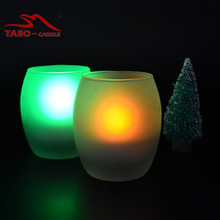 Oval Tea Light Flameless LED Candle Frosted Glass Christmas Decoration LED Tealight Candle with Glass Holder(China)