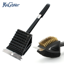3 in 1 Copper Wire BBQ Grill Brush Long Handle Stainless Steel Barbecue Grill Oven Cleaning Brush BBQ Cleaner(China)