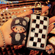 2017 New KOREA cute cartoon keybags Pendant mini doll toys crystal keychains bags mobile Phone accessories toys for best gifts(China)