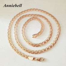 Anniebell New Trendy Rose Gold Color Men Jewelry Men Necklace Copper 5MM 55CM Long Women Men Necklace/Bracelet Factory Direct