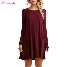 WEIXINBUY Fashion Autumn Winter Sexy Women Long Sleeve Casual Loose Black Dress Pleated Mini Party Dresses(China)