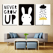 Fashion selling art 3 pieces animal small white rabbit canvas painting painter home decoration art unframed free shipping FA329(China)