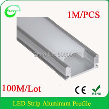Top Quality 100M/Lot  LED Strip Aluminum Bar Strip Aluminum Profile with clips and end caps Length can be customized