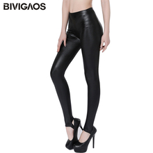 Buy BIVIGAOS Womens Faux Leather Leggings Skinny Slim Sexy Legging Punk Rock High Elastic Black Workout Leggings Foot Pants Women for $6.79 in AliExpress store
