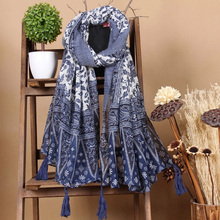 New Design Chinese Retro National Style Blue And White Porcelain Tassel Large Shawl Cotton Scarf Elegance 110*180