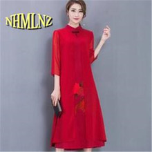 2017 Spring Summer Women Chinese Style Printing Dresses New Casual Women Embroidery Fake two piece Dresses M-XXL NEW386