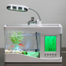Usb Mini Fish Tank Desktop Electronic Aquarium Mini Fish Tank with Water Running LED Pump Light Calendar Clock White Black(China)
