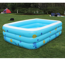 2016 Children's Large Inflatable Family Heightening Thickened Swimming Pool Babys Printed Kids Paddling Pool Size 196*143*60cm(China)