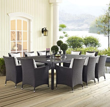 2017 Factory direct sale Outdoor Wicker Furniture 11 Piece Rectangular Patio Dining Set