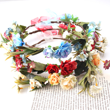 M MISM Fashion Women Bride Flower Headband Bohemian Style Floral Hairband Lovely Ladies Beach Hair Accessories Girls Hair Bands(China)