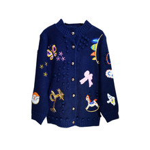Europe and the United States women's new autumn 2017 Cartoon restoring ancient ways the manual hook is colored sweater coat(China)