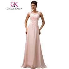 Long Bridesmaid Dresses Grace Karin Sleeveless Chiffon Pink Red Royal Blue Black Wedding Party Dress Formal Gowns Vestidos 2017(China)