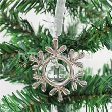 Christmas Ornament Silver Alloy Crystal Hanging Ornament with Ribbon Xmas Home Decor Snowflake(China)
