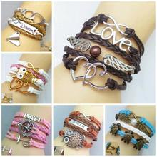 New hot fashion cute design restoring ancient ways unique lovely charm bracelet a variety of style leather bracelet