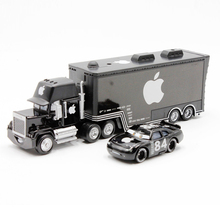 Disney Pixar Cars 2pcs/lot Mack Truck + Small Car Black Apple Metal Toy Car For Children 1:55 Loose Brand New In Stock(China)