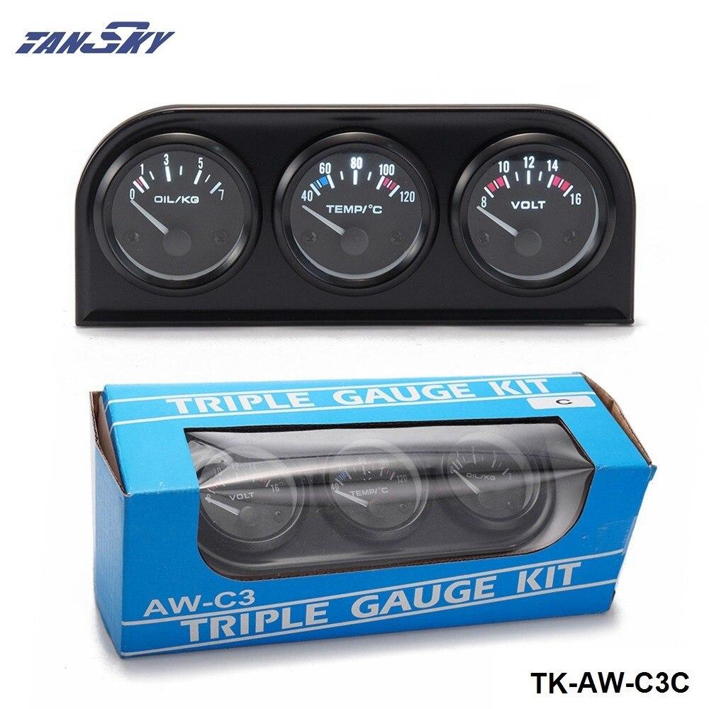 TANSKY- 52mm Triple Gauge Kit Car 3in1 Vot Gauge Water Temp Meter Oil Pressure Gauge Or Oil Temp Gauge With Sensor TK-AW-C3