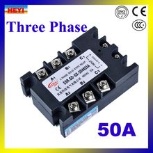Factory supply DC TO AC 50A SSR Three phase Solid State Relay SSR-50DA(China)