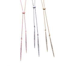 Rhinestone Pave Thin Spear Spike Dagger Pendant Lariat Necklace Fashion Female Minimal Modern Jewelry Wholesale N3347