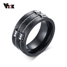 Vnox Men's Black Ring Stainless Steel Cool Wire Rings For Male Punk Rock