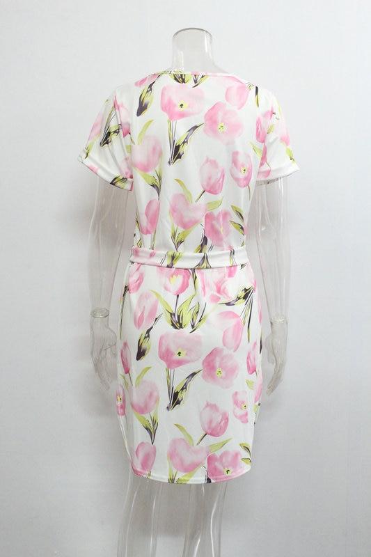 2018 Spring Summer Printed Women Dress O-Neck Hem Side Split Ladies Dresses Tie Sashes Short Sleeve Casual Sexy Female Vestidos 19