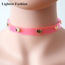 Newest Women Girls Lovely Pink PU Rope 7 Metal Hearts Choker Necklace Personality Spring Summer Soft Leather Choker Collar