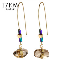 17KM Bohemian Big Stone Drop Earring For Women Vintage Statement Long Earrings Pendientes De Piedras Brincos Party Jewelry(China)