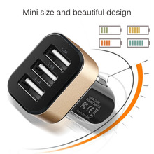 2017 New Arrival Max 3 Port Car USB Charger Mini Mobile Phone Charger for iPhone 6/5/4S for Samsung Galaxy Multi-color Optional