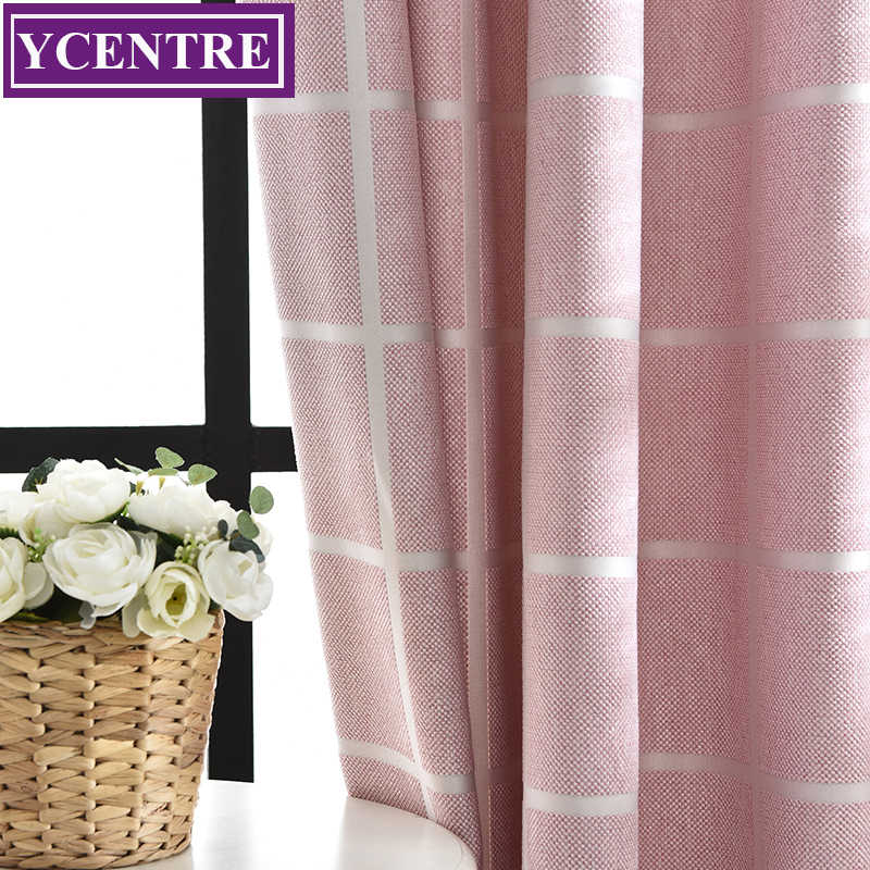 YCENTRE Decorative Window Drapes Square Pattern Jacquard Curtains Room Darkening 75% Blackout Curtains for Bedroom/Livingroom
