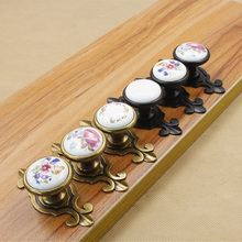 Europe Simple Style Door Knob Vintage Floral Cabinet Cupboard Drawer Furniture Hardware Handle Door Pull With Screws