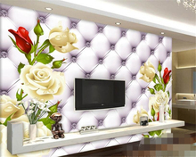 beibehang Wallpaper Fashion Stereo White Rose Leather Soft Pack TV Wall Background papel de parede photo wallpaper duvar kagit(China)