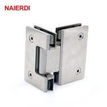 2PCS NAIERDI-4904 180 Degree Open 304 Stainless Steel Wall Mount Glass Shower Door Hinge For Home Bathroom Furniture Hardware