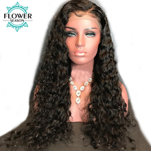 FlowerSeason Curly Glueless Full Lace Wigs Human Hair With Baby Hair For Black Women Brazilian Non-Remy Hair Bleached Knots(China)