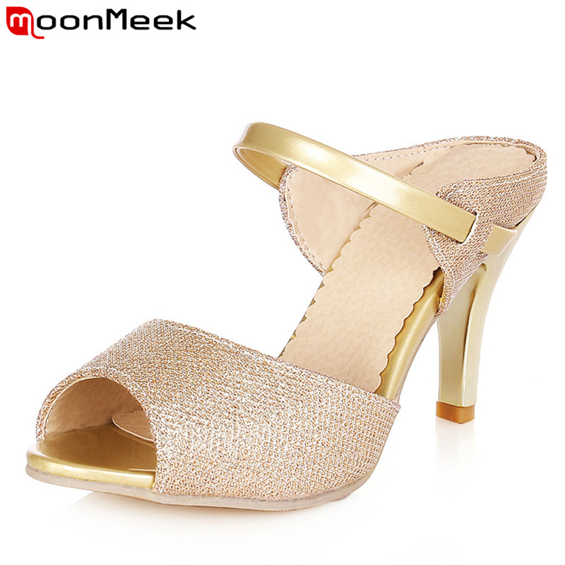 2015 fashion women sandals for women peep toe stiletto high heels womens slippers gold white color party casual shoes<br><br>Aliexpress