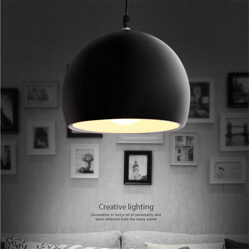 Modern Brief Black/White Round Aluminum Led E27 Pendant Light for Dining Room Bar Restaurant Dia 20/25cm AC 80-265V 1365<br>